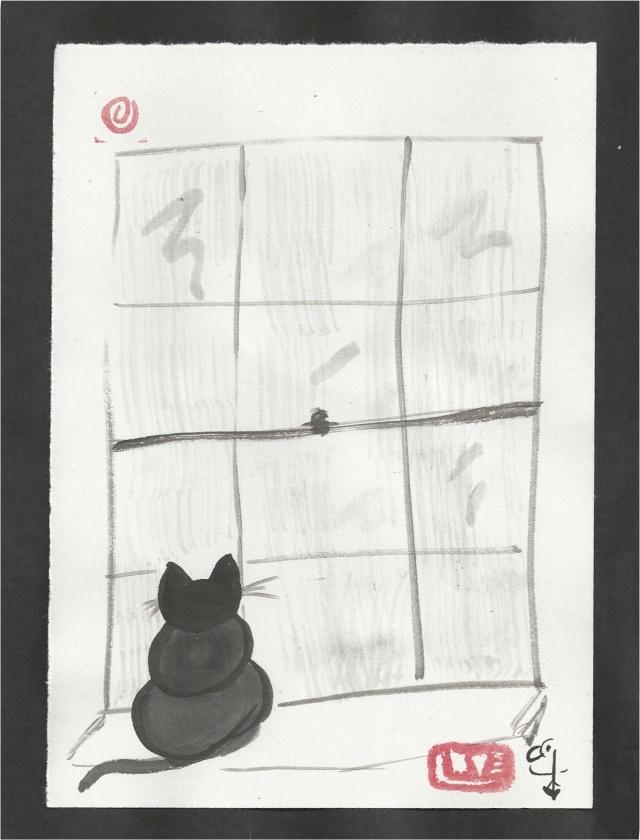 cat at rainy window
