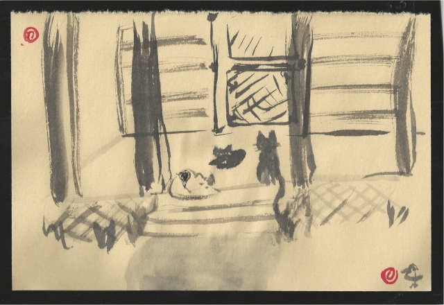 cats on porch