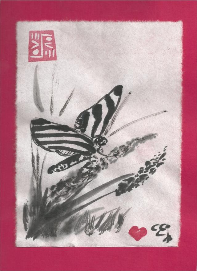 zebra butterfly on grass blossom