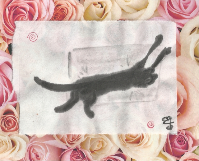 presto on pillow on bed of roses
