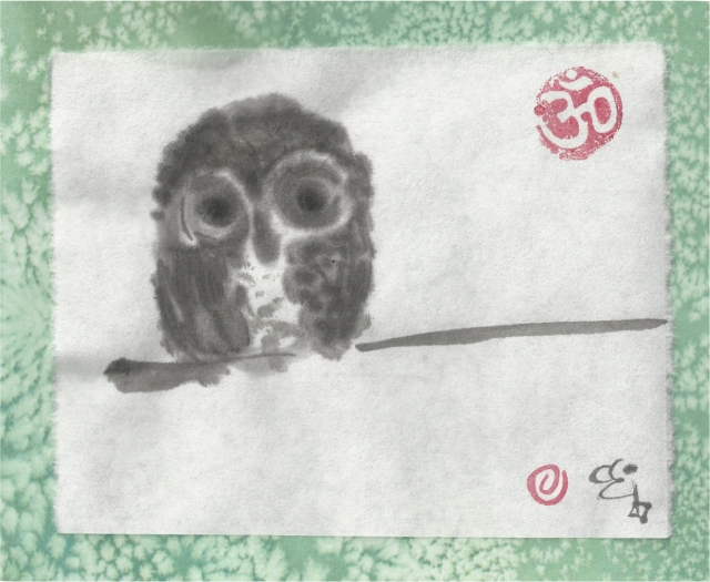 owl on pale green