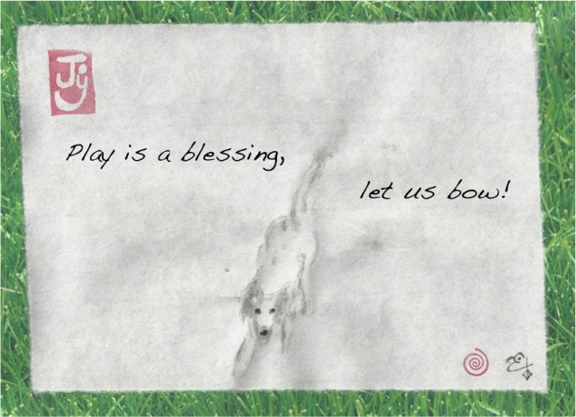 parker puppy play bow blessing text