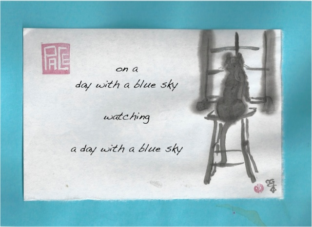 watching a day with a blue sky