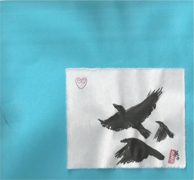 three crows soar skyward