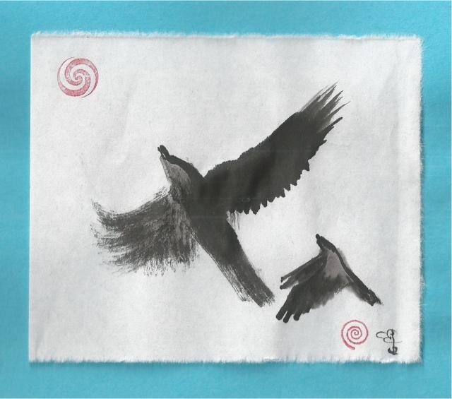 two crows soar skyward