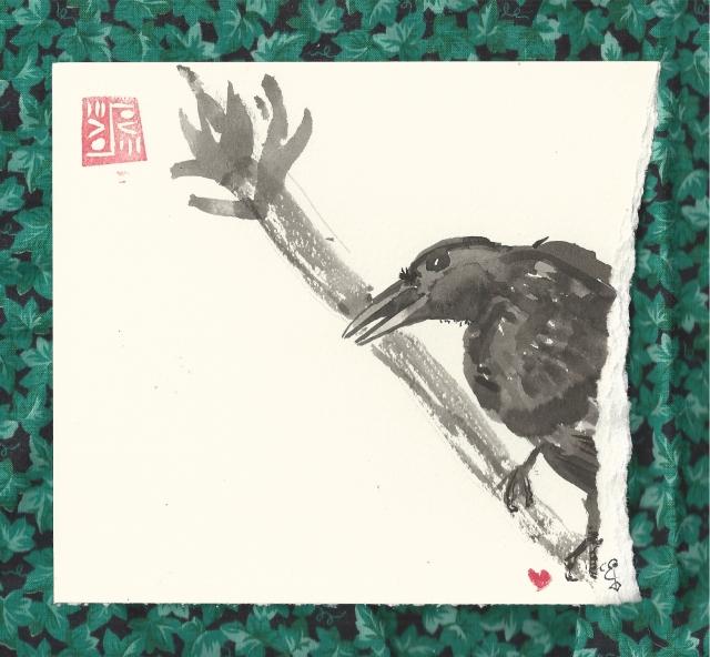 crow in tree open beak