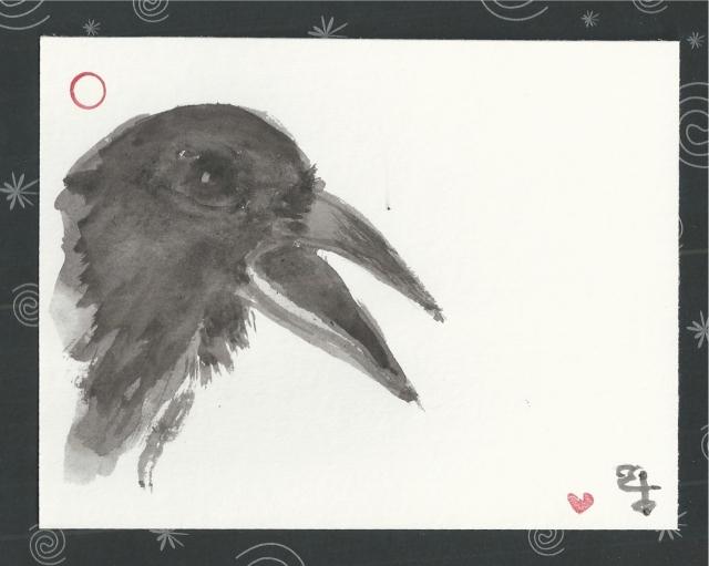 crow open beak