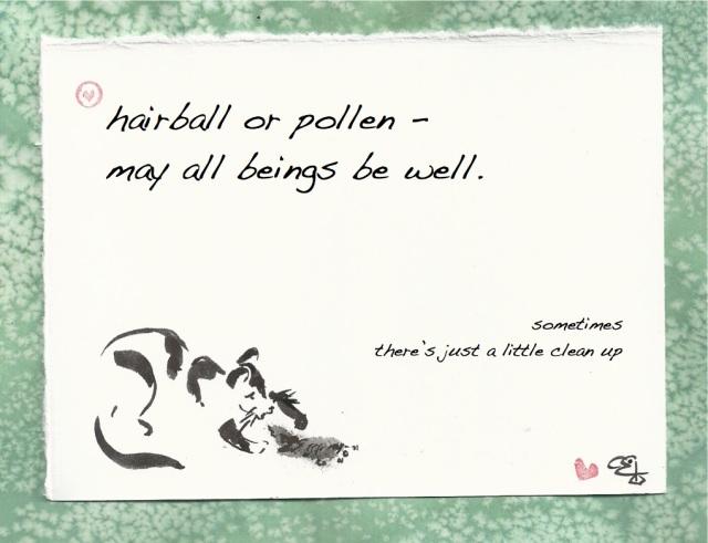 hairball pollen be well cat vomit