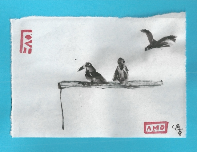 three crows on dumpster