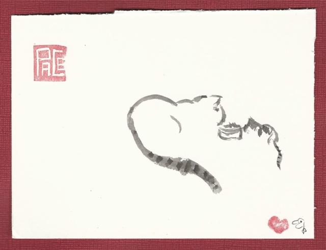 big cat meets little kitten by food bowl