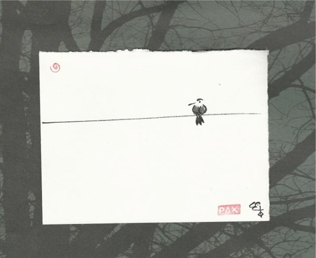bird on wire thru tree