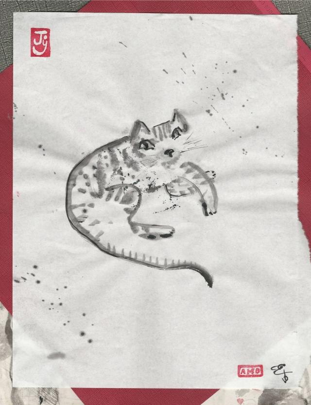 kitten on blotter tabby narrow border