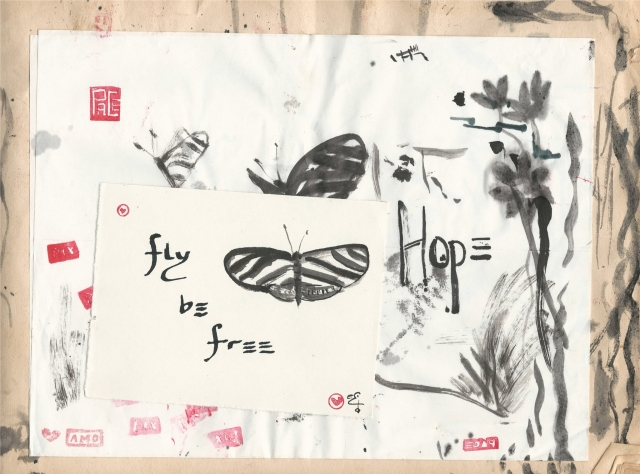 fly be free hope zebra butterfly