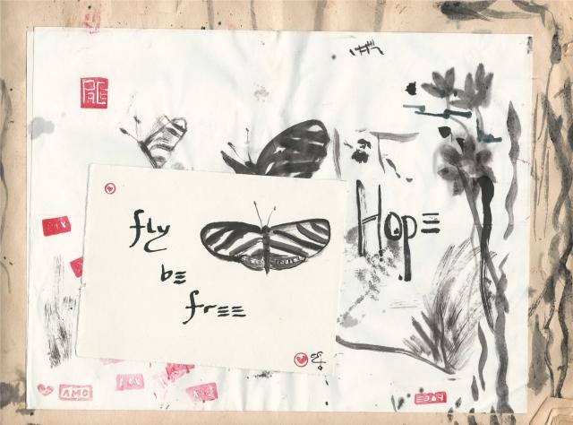 fly be free hope zebra butterfly