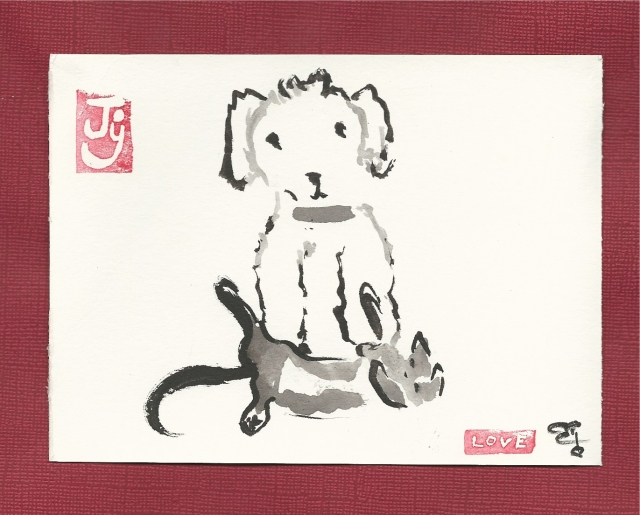 poodle-with-kitten-at-feet